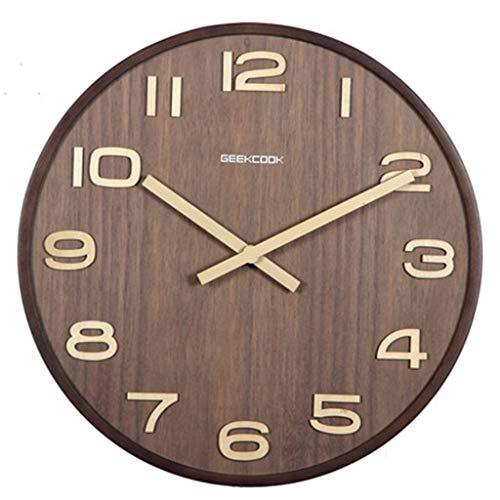 Walnuss-große Tabelle (YNMB KS Chinesische Holz Uhr ruhigen Wohnzimmer Büro Klassische Uhren und Uhren Retro Stil Quarz hängenden Tabelle Walnuss Farbe, Größe: M)