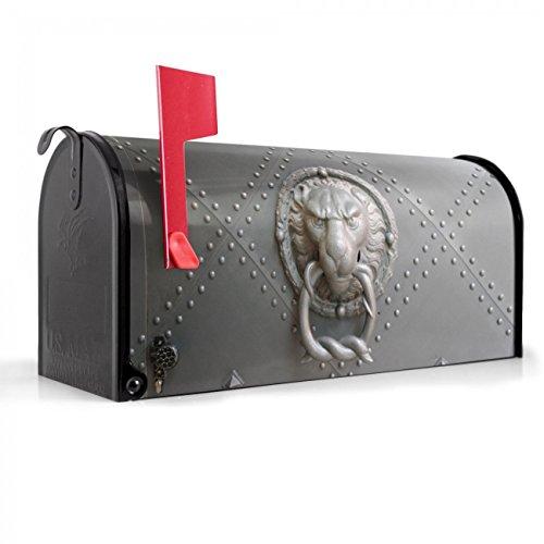 BANJADO US Mailbox | Amerikanischer Briefkasten 51x22x17cm | Letterbox Stahl schwarz | mit Motiv Eisentor, Briefkasten:ohne Standfuß