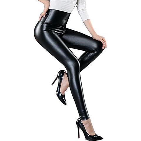 LvRao Mujer high waisted leggings de colores elasticos pantalon de cuero imitacion moto