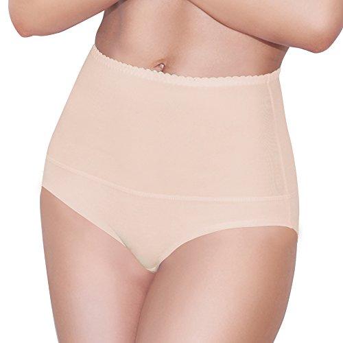 Damen Figurenformend Miederslip mit Bauch-Weg-Effekt Stark Formend Miederpants Miederslip Damen Unterwäsche Große Größen (XXXL, Beige)
