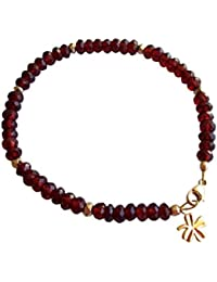Gemshine - Damen - Armband - Vergoldet - Granat - Facettiert - Rot - Dunkelrot