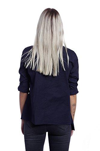 Abbino X6012 Blouses Chemisiers Tops Femmes Filles - Fabriqué en Italie - 3 Couleurs - Transition Printemps Été Automne Plaine Manches Longues Cotton Elegante Vintage Classique Casual Promotion Bleu