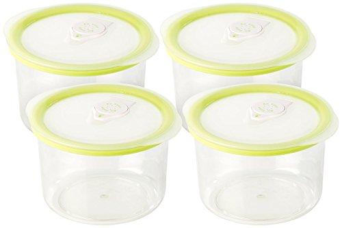 Rosenstein & Söhne Vakuumierbehälter: Runde Vakuumierdose mit 0,6 Liter Volumen, 14,2 x 8,3 cm, 4er Set (Vakuum-Aufbewahrungsdosen)