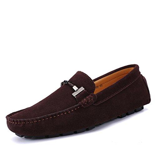 Eagsouni® Homens Mocassins Barco Sapatos De Camurça Preguiçosos Sapatos De Condução Plana Sapatos Baixos Casuais Chinelos De Verão Deslizador # 1braun