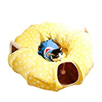 Authda Cat Tunnel Beds Toys 2 in 1 Cat Tunnel Removable Plush Bed Central Mat Soft Cat Tube Sleeping Bed Warm House Cat Puppy Kitty Rabbit Wave Point (Full Moon, Yellow)