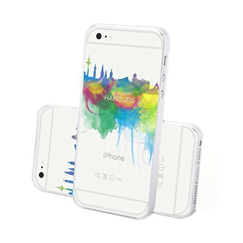 FINOO ® | Iphone 6 / 6S Plus Hardcase Handy-Hülle | Transparente Hart-Back Cover Schale mit Motiv Muster | Tasche Case mit Ultra Slim Rundum-schutz | stoßfestes dünnes Bumper Etui | Köln Hamburg