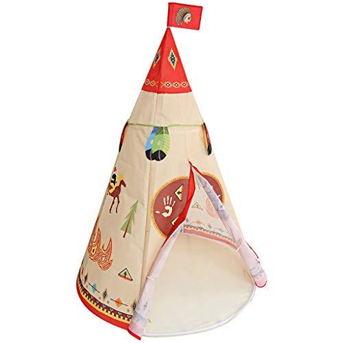 Longra Spielzeug Indianer Tipi Zelt Für Kinder Spielhaus - Faltbares Indoor & Outdoor Set für 2 Jungen & Mädchen (Naturfarben) Segeltuch Wigwam Kinderzelt Spielzelt - Für Haus und Garten