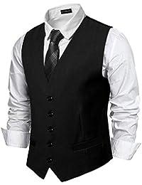 YCUEUST Homme Single-Breasted Plaine Classique Gilet Cérémonie Mode Waistcoat Suit Vest