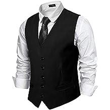 YCUEUST Chaleco Hombre Boda V-Cuello Traje Negocios con Botones Blazers Slim  Fit 1a02e1d4a913