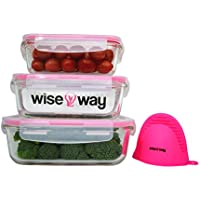 Wise Way Tápers para Comida - Juego de 3 Recipientes de Cristal con Tapa Herméticos Porta Alimentos Reutilizables sin BPA para Lavavajillas, Microondas, Congelador y Horno - Manopla para Horno Gratis.