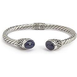 Shadi étnico - Brazalete de plata de ley con tanzanita (joyería de plata artesanal - regalo - mujer - hombre - Navidad - Reyes - cumpleaños)