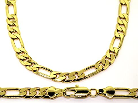 Luxury Figaro Chain Necklace - 18K Gold plated - Mens - 6mm, 24