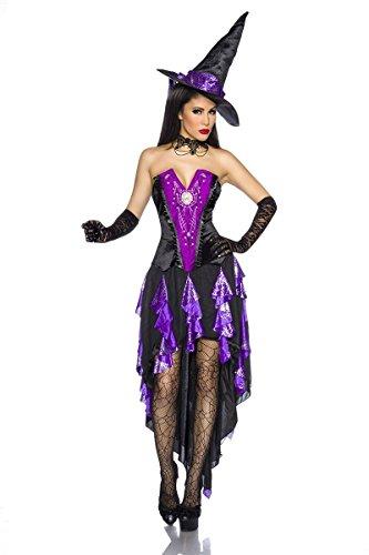 Tailliertes Halloween Kostüm `Hexe` mit Hut A13568, Größe:34-38;Farbe:schwarz (Damen Glamour Hexe Kostüme)