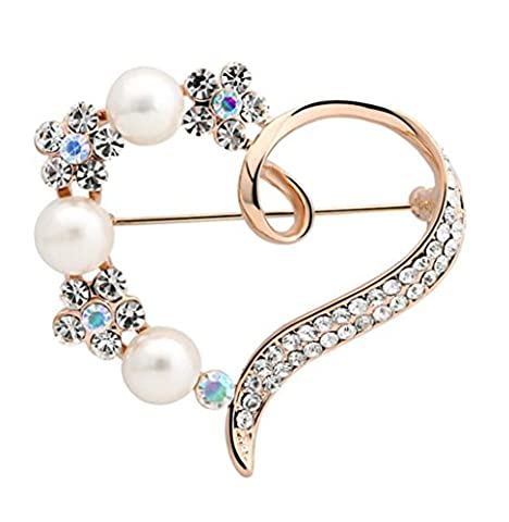 Cdet 1X Brooch Women Corsage Diamond Heart Wedding Bridal Pin Dress Brooch Scarves Shawl Clip Bag Ornament Christmas Gift