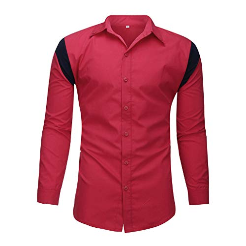 DNOQN T Shirt Lang Slim Fit Pullover Herren Männer Gestreift Spleißen Taste Langarm Shirt Mode Langarm Bluse Top S -