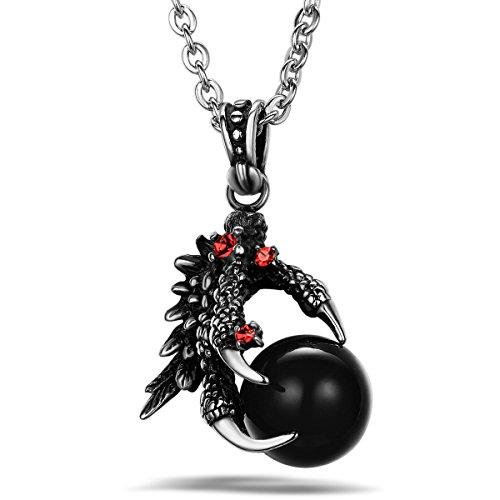 JewelryWe Gioielli Collana con Pendente da Uomo Donna Acciaio Inox Drago...
