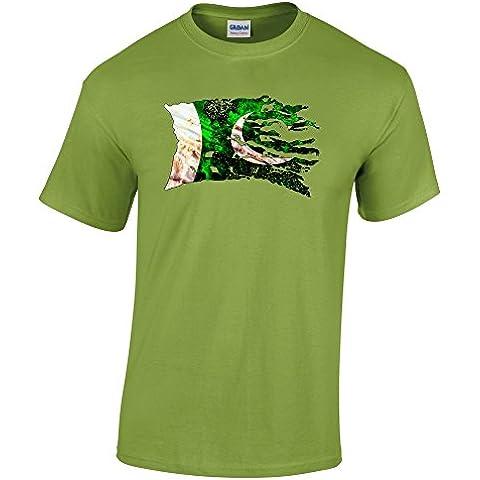 Bandiera Strappati Collezione 3, Gildan Kiwi Heavy Cotton Youth T-shirt Verde Bambino Ragazzo Maglietta Kids Boys Tee Top con Design Colorato. Taglia XS S M L XL, 1-14 Anni.