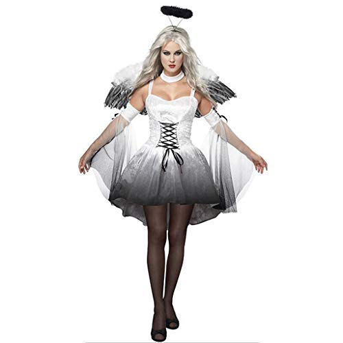VVcostumes Fallen Angel Kostüm, Halloween Women Night Fallen Angel Cosplay Kostüme mit Flügel Haarspange (Color : White, Size : XXL) (Womens White Angel Kostüm)