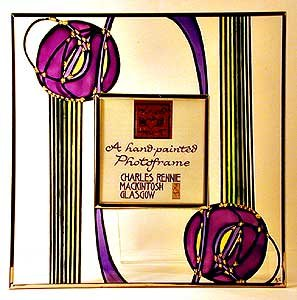 Decorative Hand Painted Glass Square Picture Frame in a Mackintosh