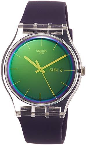 Swatch Damen Analog Quarz Uhr mit Silikon Armband SUOK712 - Swatch Uhren Von