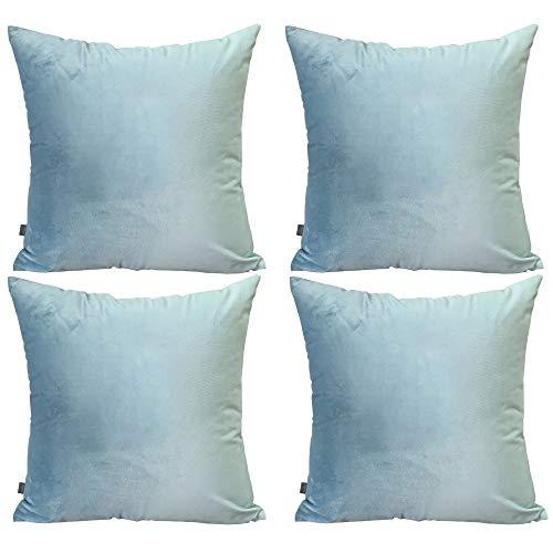 Thmyo 4Stück Deko-Kissenbezug, quadratisch, weiche Samt-Kissen für Sofa Couch (45,7x 45,7cm...