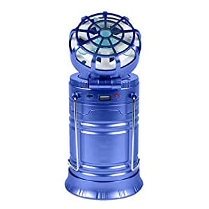 Solar Rechargeable Fan Multi-function LED Camping Light Table Lamp Flashlight (Blue)