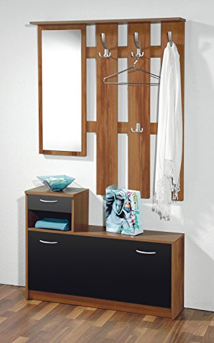Germania 3674-87 Easy Garderobe, Holz, walnuss-nachbildung  schwarz, 25.00 x 100.00 x 195.00 cm