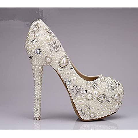 xieshijie-hlx coreano versione del Nobile/strass/perle/ultra tacco alto/piattaforma/principessa abiti da sposa/scarpe, donna, bianco
