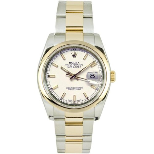 Rolex Mens New Style Heavy Band Stainless Steel & 18K Gold Datejust Model 116203 Oyster Band Smooth Bezel White Stick Dial