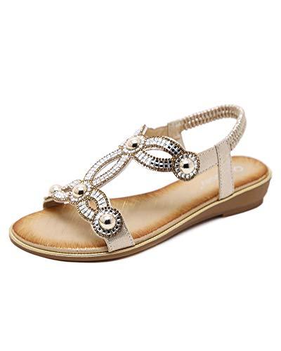 Boemia sandali da donna da estate pu cuoio,ladies open toe strass flip flop sandali estivi scarpe da spiaggia basse tacco piatto,scarpe da spiaggia da donna oro eu 39