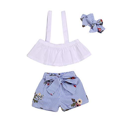 SimpleShow Baby kleidet Neugeborene Ausstattungen 3 PC-Farbband-Trägershirtstreifenhosen-Bogenknoten Hairband Sommerfrühlingskinder Sleeveless Art und Weisekleidung