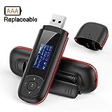 8 GB USB MP3 Player tragbar mit FM Radio, austauschbare Batterie Musik Player, (Verpackung MEHRWEG), Schwarz und Rot