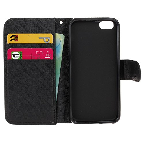 Hülle für iPhone SE, Tasche für iPhone 5 5S, Case Cover für iPhone 5 5S SE, ISAKEN Malerei Muster Folio PU Leder Flip Cover Brieftasche Geldbörse Wallet Case Ledertasche Handyhülle Tasche Case Schutzh Nicht Berühren