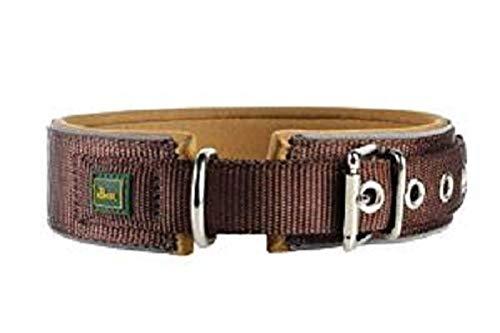 HUNTER NEOPREN REFLECT Hundehalsband, Nyon, Neopren gepolstert, reflektierend, 45 (S-M), braun/karamell