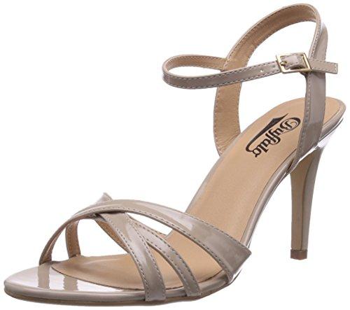 Buffalo Shoes 312703 PATENT PU, Damen Knöchelriemchen Sandalen, Beige (BEIGE 01), 39 EU (Sandalen Patent Damen Beige)