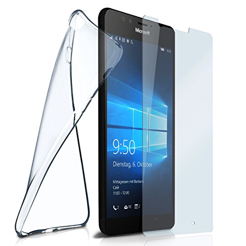 moex Silikon-Hülle für Microsoft Lumia 950 | + Panzerglas Set [360 Grad] Glas Schutz-Folie mit Back-Cover Transparent Handy-Hülle Nokia Lumia 950 Case Slim Schutzhülle Panzerfolie