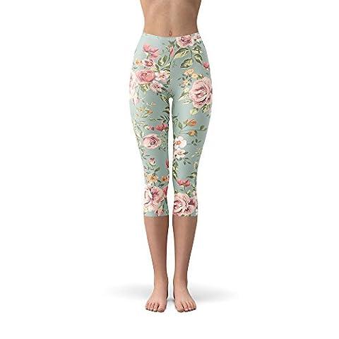 Pastel Floral Wallpaper Winter Leggings - Fleece, Capri 3/4 Length, Mid/High Waist