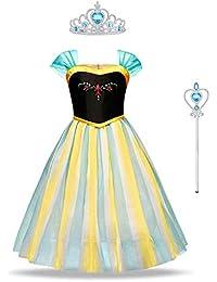 URAQT Vestido de Elsa Anna, Vestido de Princesa para Niñas, Disfraz de Anna con Varita y Corona, Vestido Elegante para Cosplay, Halloween, Navidad, Fiesta
