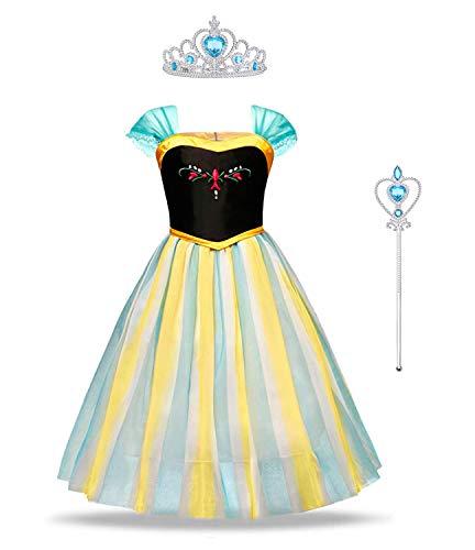 URAQT Mädchen Kostüm Eiskönigin Anna Kleid, Kinder Prinzessin Kleid Cosplay Kostüme, Kinder Verkleidung Party Weihnachten Halloween 140cm