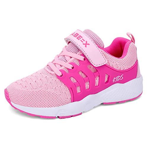 Unpowlink Kinder Schuhe Sportschuhe Ultraleicht Atmungsaktiv Turnschuhe Klettverschluss Low-Top Sneakers Laufen Schuhe Laufschuhe für Mädchen Jungen 28-37, 920-rosa, 30 EU Sohle Turnschuhe