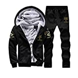 Moonuy Herren Winterjacke Herren Boy Hoodie Winter Warm Fleece Reißverschluss Pullover Charme Stilvolle Jacke Patchwork Hot Outwear Baumwollmantel in grau rot schwarz (Schwarz(Oberteile + Hose), 4XL)