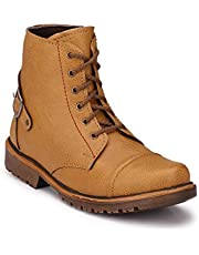Big Fox Tan and Brown Synthetic Leather Casual Boots for Men