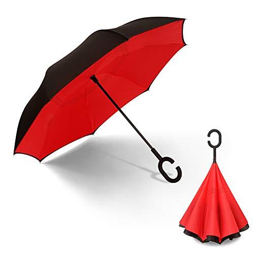 Outdoor umbrella beach umbrella Reverse-Anti-Bone-Regenschirm mit langem Griff Zweischichtiger manueller Regenschirm für Männer und Frauen Regen und Regen Einfache Verstärkung mit doppeltem Verwendung