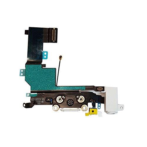 SMARTEX Ladebuchse mit Flex Kabel Kompatibel mit iPhone SE Weiß – Dock Connector mit integrierten Mikrofon, Homebutton, Lautsprecher Anschluss