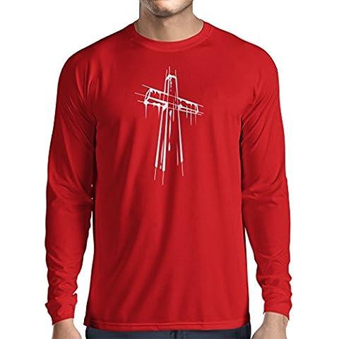 Langarm Herren t shirts Beunruhigtes Kreuz - Eeligiöse Geschenke, Christliches
