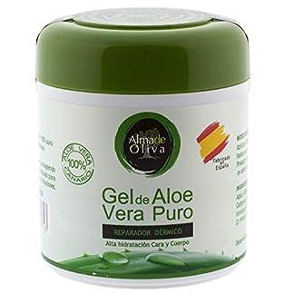 Gel Aloe vera puro 100% de Canarias crema hidratante natural 500 ml para la piel irritada por el depilado y afeitado/Quemaduras solares y picadura de insectos. Uso Facial y Corporal