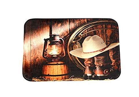 A.Monamour Vintage Horse Stable Lights Cowboy Hats Boots Accessory Print Soft Flannel Antibacterial Rubber Skid-Resistant Bath Mat Rug for Bathroom Kitchen Floor Carpet 40x60cm /