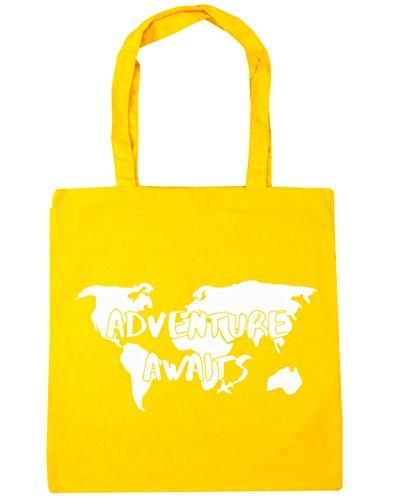 hippowarehouse-aventura-aguarda-tote-compras-bolsa-de-playa-42-cm-x38-cm-10-litros-amarillo-amarillo