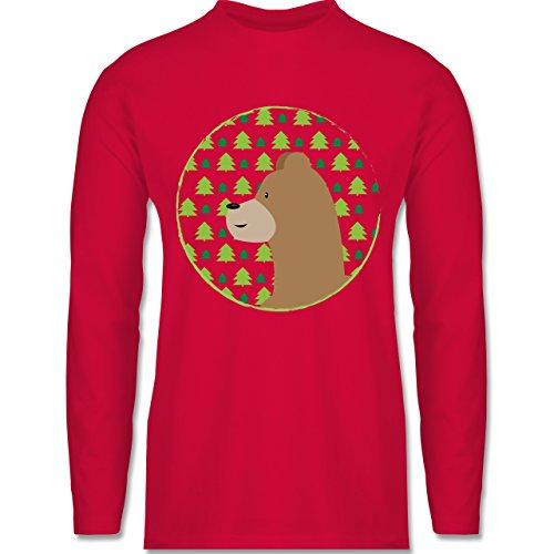 Wildnis - Tiermotiv Bär - Longsleeve / langärmeliges T-Shirt für Herren Rot