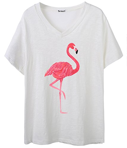 So'each Women's Animal Flamingo Bird Graphic V-Neck Tee T-Shirt Ladies Casual Top (Cap Womens Sleeve T-shirt Hot)